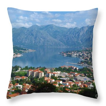 Bay Of Kotor - Montenegro Throw Pillow