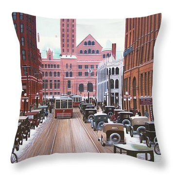 Bay Street Christmas Eve 1924 Throw Pillow by Kenneth M  Kirsch