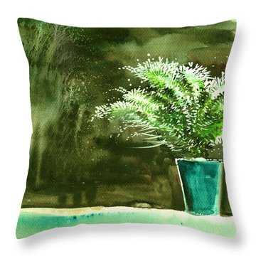 Bay Window Plant Throw Pillow by Anil Nene