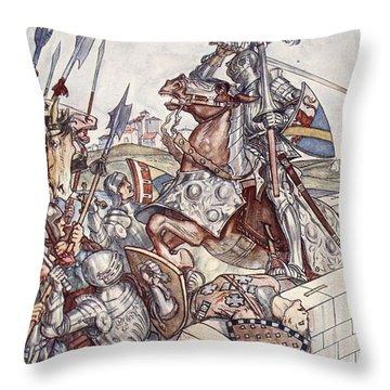 Bayard Defends The Bridge, Illustration Throw Pillow