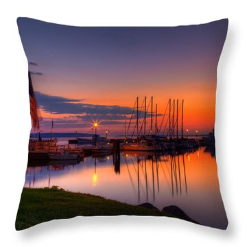 Bayfield Wisconsin Fire In The Sky Over The Harbor Throw Pillow