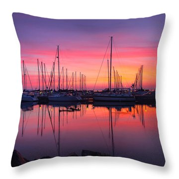 Bayfield Wisconsin Magical Morning Sunrise Throw Pillow