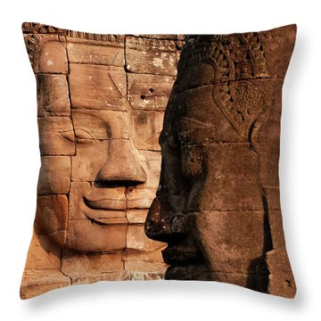 Bayon Faces 02 Throw Pillow