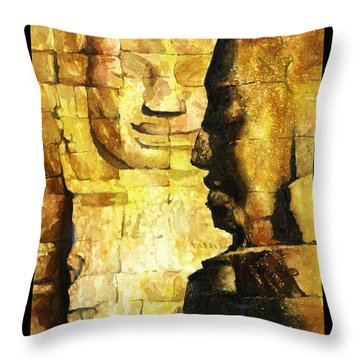Bayon Khmer Temple At Angkor Wat Cambodia Throw Pillow by Ryan Fox