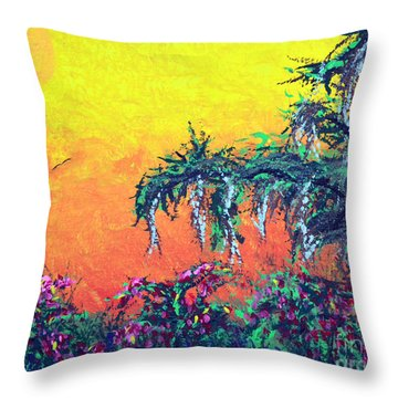 Throw Pillow featuring the painting Bayou Honeymoon by Alys Caviness-Gober