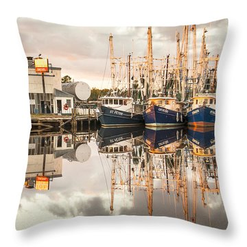 Bayou La Batre' Al Shrimp Boat Reflections 40 Throw Pillow