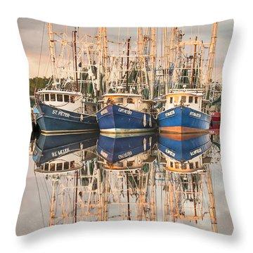 Bayou La Batre' Al Shrimp Boat Reflections 41 Throw Pillow