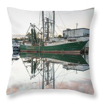 Bayou La Batre' Al Shrimp Boat Reflections 42 Throw Pillow