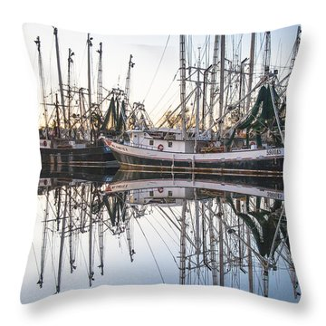 Bayou La Batre' Al Shrimp Boat Reflections 44 Throw Pillow