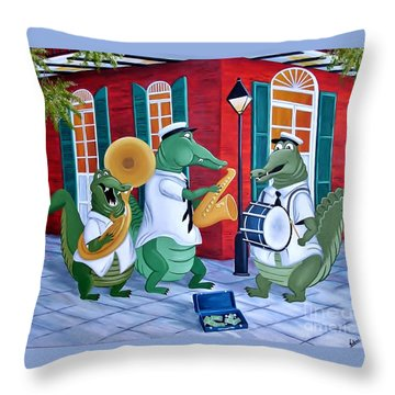 Bayou Street Band Throw Pillow