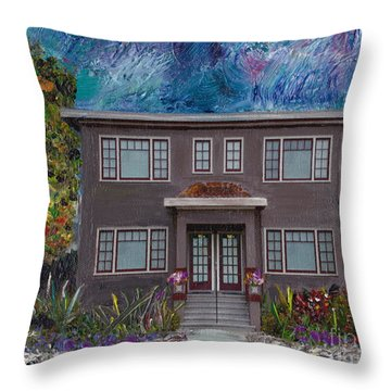 Throw Pillow featuring the mixed media Alameda Bayview 1926 - Colonial Revival by Linda Weinstock