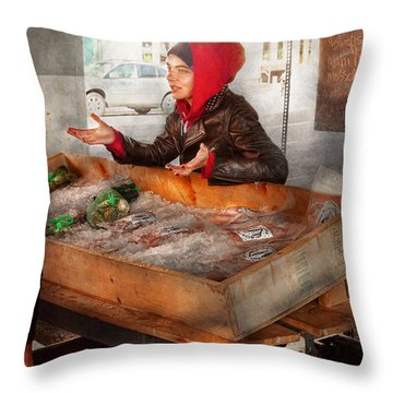 Bazaar - I Sell Fish  Throw Pillow by Mike Savad