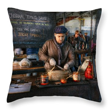 Bazaar - We Sell Tomato Sauce  Throw Pillow by Mike Savad