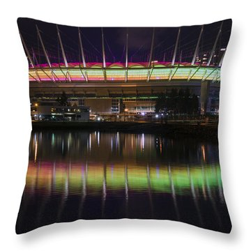 Throw Pillow featuring the photograph Bc Place Greens And Yellows by Ross G Strachan