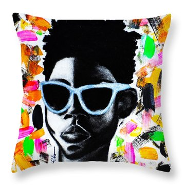 Throw Pillow featuring the painting Be Firm  by Tarra Louis-Charles