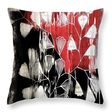 Be-leaf - Red Black A05bt3a Throw Pillow
