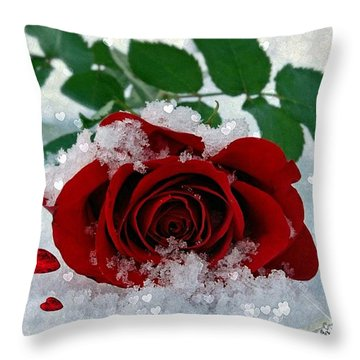 Throw Pillow featuring the mixed media Be Mine by Morag Bates