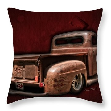 Be My Valentine On The Rat Rod Of Love Throw Pillow
