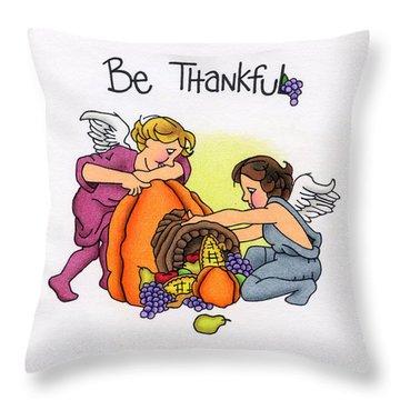 Be Thankful Throw Pillow by Sarah Batalka