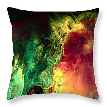 Be Together - Red Green Abstract Art By Kredart Throw Pillow