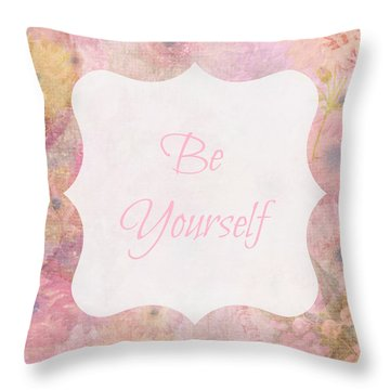 Be Yourself Daisies Throw Pillow by Inspired Arts