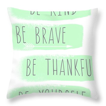 Be Yourself- Mint And White Inspirational Art Throw Pillow