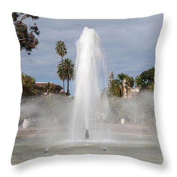 Bea Evenson Fountain In Balboa Park Throw Pillow by Lee Kirchhevel