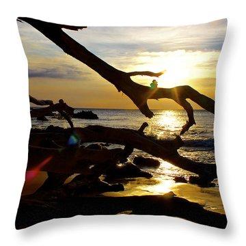 Beach 69 Hawaii At Sunset Throw Pillow