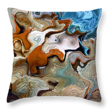Throw Pillow featuring the digital art Beach Abstract Art by Annie Zeno