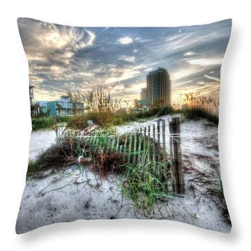 Beach And Buildings Throw Pillow