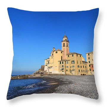 Throw Pillow featuring the photograph beach and church in Camogli by Antonio Scarpi