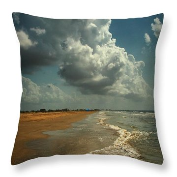Beach And Clouds Throw Pillow by Linda Unger