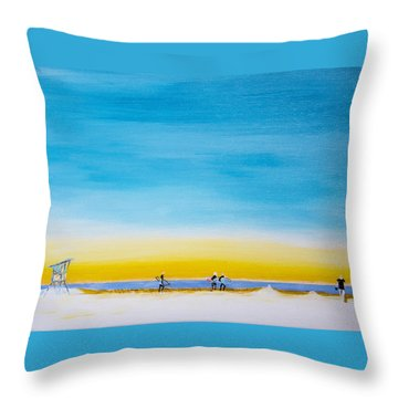 Throw Pillow featuring the painting Surfers On The Beach by Ben Gertsberg