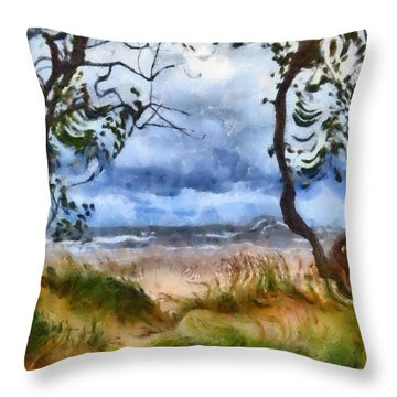 Beach And Trees Throw Pillow