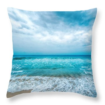 Beach And Waves Throw Pillow