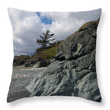 Beach At Fort Rodd Hill Throw Pillow