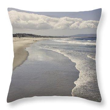 Beach At Santa Monica Throw Pillow