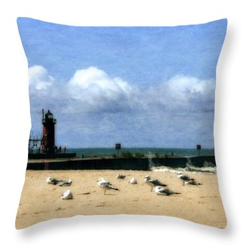 Beach At South Haven  Throw Pillow by Michelle Calkins