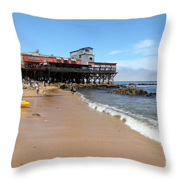 Beach At The Steinbeck Plaza On Monterey Cannery Row California 5d25056 Throw Pillow