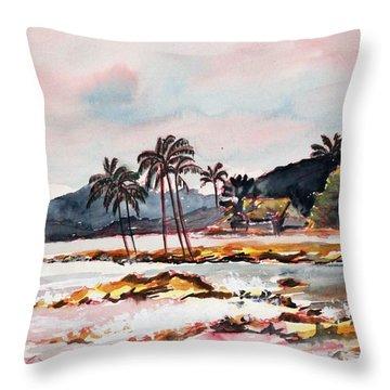 Beach At Waikiki Throw Pillow