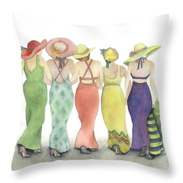 Beach Babes In Coverups And Hats Ready For A Day In The Sun Throw Pillow by Nan Wright