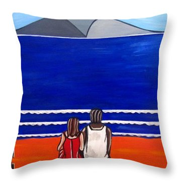 Beach Beach Day Three Throw Pillow by Sandra Marie Adams