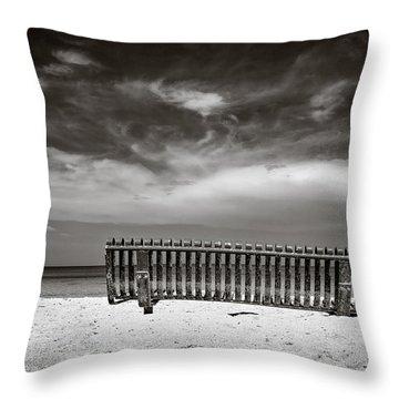 Beach Bench Throw Pillow by Dave Bowman