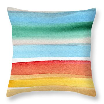 Beach Blanket- Colorful Abstract Painting Throw Pillow by Linda Woods