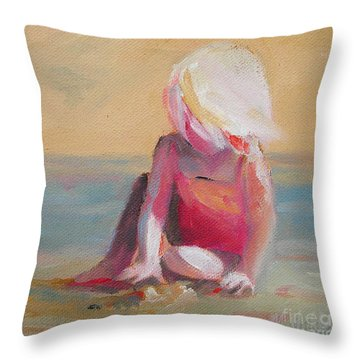 Beach Blonde Girl In The Sand Throw Pillow by Mary Hubley