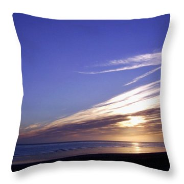 Beach Blue Sunset Throw Pillow