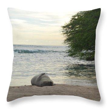 Throw Pillow featuring the photograph Beach Bum by Amanda Eberly-Kudamik
