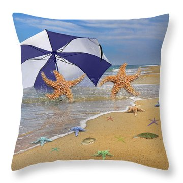 Beach Bums Throw Pillow by Betsy Knapp
