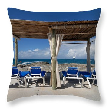 Beach Cabana With Lounge Chairs Throw Pillow by Amy Cicconi