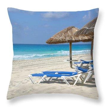 Beach Chairs In Cancun Throw Pillow